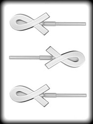 "3-3/8"" AWARENESS RIBBON SUCKER HARD CANDY MOLD"