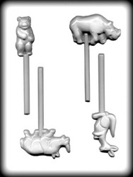 "2-1/4"" - 3-1/8"" ZOO ANIMAL SUCKER HARD CANDY MOLD"