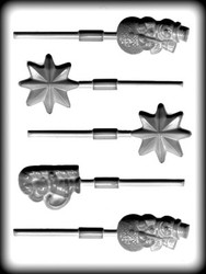 "2-1/8"" - 2-3/8"" CHRISTMAS ASST SUCKER HARD CANDY MOLD"