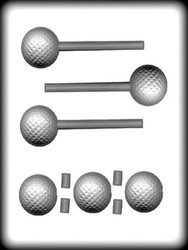 "1-5/8"" 3D GOLF BALL SUCKER HARD CANDY MOLD"