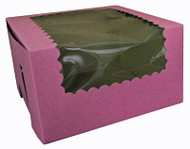 CUPCAKE BOX W/WINDOW STRAWBERY 14X10X4 PKG/100
