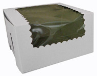 CUPCAKE BOX W/WINDOW WHITE  14X10X4 PKG/100