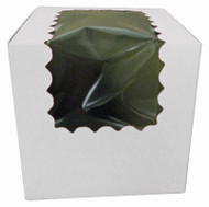 CUPCAKE BOX W/WINDOW WHITE 4X4X4 PKG/100