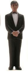"4-1/4"" African-American Grooms Attendant--Black Coat--Pkg/6"