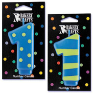 NUMBER CANDLE 1 STRIPES/DOTS--EA/1