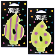 NUMBER CANDLE 6 STRIPES/DOTS--EA/1