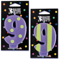 NUMBER CANDLE 9 STRIPES/DOTS--EA/1