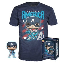 Funko POP! & Tee Marvel Avengers - Endgame: Captain America FYE Exclusive Vinyl Figure & T-Shirt Set - Size: X-Small - Funko Closeout