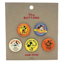 *Bulk* Junk Food™ Disney: Mickey & Minnie Mouse (1928) 5pc Button Set - Includes 5 Sets