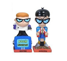 Funko Cartoon Network Dexter's Laboratory: Dexter & Mandark Wacky Wobbler Bobblehead 2 Pack - Damaged Box / Paint Flaw