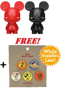 Funko Hikari XS Disney: Red & Black Mickey Mouse Vinyl Figure 2 Pack - LE 5000pcs + FREE Mickey Mouse Button Set*