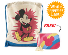 Junk Food™ Disney: Vintage Mickey Mouse Drawstring Backpack + FREE Striped Canvas Coin Bag