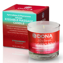 Dona Kissable Soy Massage Candle (Strawberry Souffle) Net Wt 4.75 Oz / 135 G