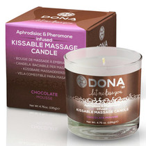 Dona Kissable Soy Massage Candle (Chocolate Mousse) Net Wt 4.75 Oz / 135 G