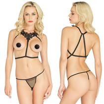 2pc Embroidered Applique Body Harness & G-String O/S Black