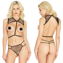 2pc Net Body Harness & Strappy G-String O/S Black