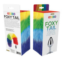 Rainbow Foxy Tail  Fur Tail With Stainless Steel Butt Plug