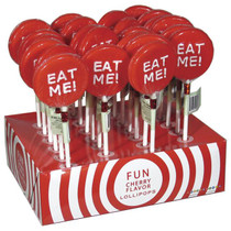 'Eat Me!' Cherry Flavored Lollipop Display