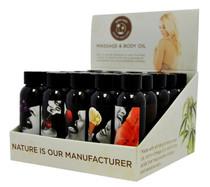 Earthly Body Edible Massage Oil Counter Display (25 asst 2oz bottles)