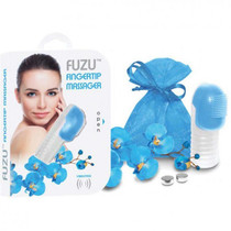 Fuzu Fingertip Massager Dual Speed 3 Silicone Tips Batteries and Pouch Included Neon Blue