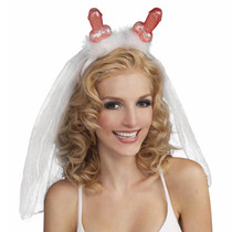 Bachelorette Penis Tiara with Veil (White)