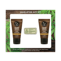 Earthly Body Gift Set Salve-Ation Kit Includes: 0.34oz CBD Salve, 1oz Nag Champa Lotion, & 1oz Nag Champa Shower Gel