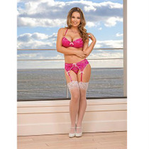 Magic Silk Peek-a-Bow Bra, Peek-a-Boo Panty & Garter Set Pink L/X