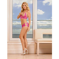 Magic Silk Peek-a-Bow Peek-a-Boo Bra & Split Back Short Pink L/X