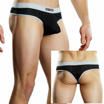 Male Power Athletic Mesh Sport Thong Black Med