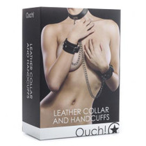 Ouch! Leather Collar and Handcuffs - Black
