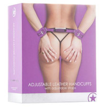 Ouch! Adjustable Leather Handcuffs - Purple