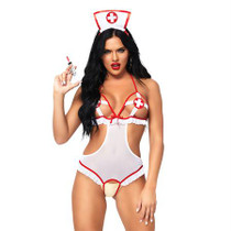 2pc Naughty Nurse, Includes Crotchless Teddy With Peek-A-Boo Cups And Matching Headband O/S Wh/Rd