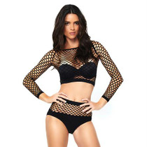 2pc Industrial Net Long Sleeved Crop Top And Matching High Waist Full Back Opaque Bottom O/S Black