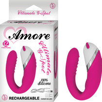 Amore Ultimate G Spot Rechargeable Silicone Multispeed Waterproof Vibe With Travel Pouch (Pink)