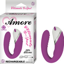 Amore Ultimate G Spot Rechargeable Silicone Multispeed Waterproof Vibe With Travel Pouch (Purple)