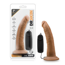 Dr. Skin - Dr. Dave - 7in Vibrating Cock with Suction Cup - Mocha