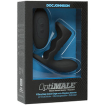 OptiMALE Vibrating Cock Cage with Wireless Remote Rechargeable Silicone Black