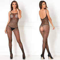 Crotchless Crochet Knit Bodystocking Black Queen