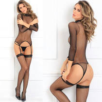 Elegant High Neck Bodystocking Black M/L