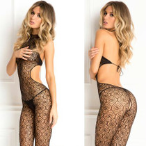 Indiscreet Crochet Bodystocking Black O/S