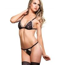 2pc Mesh Adjustable Strap Bra Top W/Floral Lace,G-String O/S Nude/Black