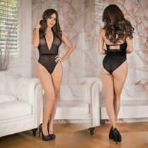 Simply Wicked Deep Plunge Teddy w/ Snap Crotch Black Queen