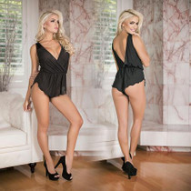 Simply Wicked Deep Plunge Romper Black L/XL