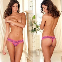Crotchless Lace V-Thong F Purple M/L