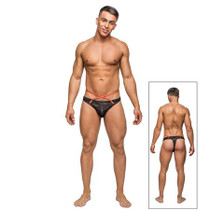 Male Power Camo Sport Net Strap Thong Black LX