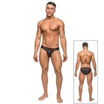Male Power Camo Sport Net Sport Bikini Black Med