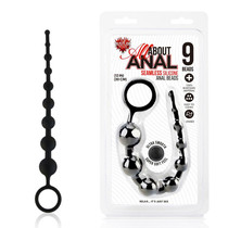 All About Anal Silicone Anal Beads 9 Balls Black