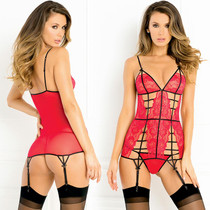 2pc Caged Lace Garter Chemise & G-String Set Medium/Large (Red)