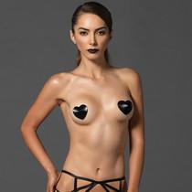 Kink Padded Satin Heart Nipple Cover O/S Black