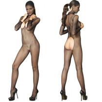 Kink Hooded Fishnet Bodystocking w/Crotchless Open Back & Back Snap O/S Black